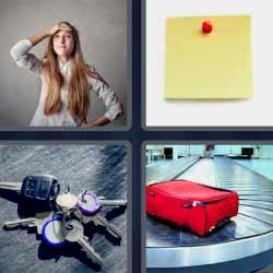 4 fotos una palabra llaves maleta nota