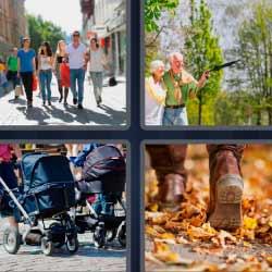4 fotos 1 palabra gente caminando