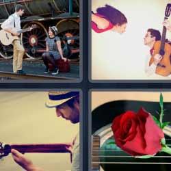 4fotos 1palabra rosa guitarra músicos