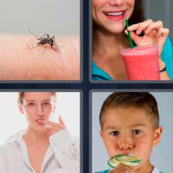 4 fotos una palabra mosquito batido de fresa
