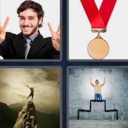 cuatro fotos una palabra medalla campeón