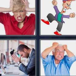 4 fotos 1 palabra hombre tirándose del cabello