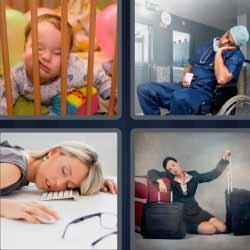 Cuatro fotos una palabra mujer con maletas dormida
