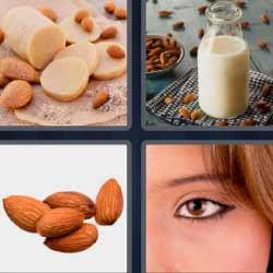 Cuatro fotos una palabra leche ojo semillas