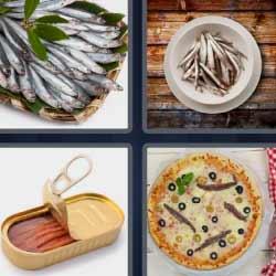 Cuatro fotos una palabra pizza lata pescado