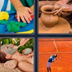 4 fotos una palabra pista de tenis mascarilla plastilina