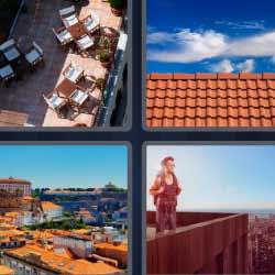 4 fotos 1 palabra tejado mesas terraza