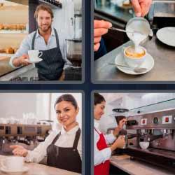 Cuatro fotos 1 palabra café camarero cafetería
