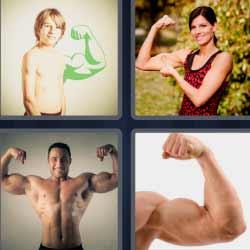 4 fotos 1 palabra brazos con músculos