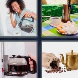 4 fotos 1 palabra jarra con café desayuno