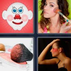 4fotos 1palabra cara de payaso brocha mujer maquillándose