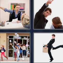 4fotos 1palabra hombre con una caja gente saliendo a la calle