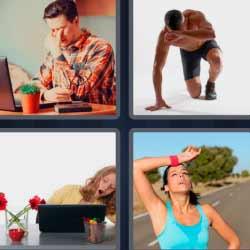 4 fotos 1 palabra mujer haciendo ejercicio y sudando