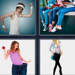 4 fotos 1 palabra hombre delgado piernas