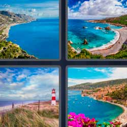 4 fotos 1 palabra playa costa paisaje faro