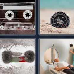 4fotos1palabra cinta de cassette brújula en la arena