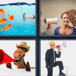 4fotos 1palabra peces altavoz caballo con sombrero