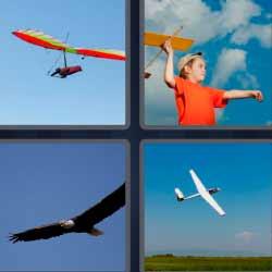 Cuatro fotos una palabra avión águila pájaro volando