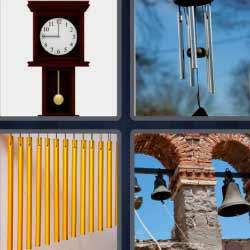 Cuatro fotos una palabra campanas reloj