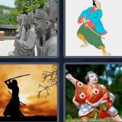 4 fotos una palabra ninja guerrero japonés estátuas