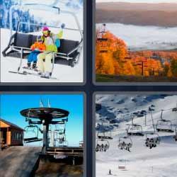 Cuatro fotos una palabra nueve letras silla nieve esquís montaña nevada