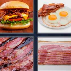 4 fotos 1 palabra hamburguesa bacon huevos estrellados