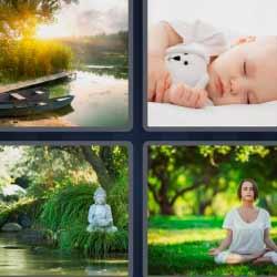 4fotos 1palabra bebé dormido yoga lago estatua de Buda