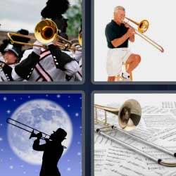 Cuatro fotos una palabra trompeta músico