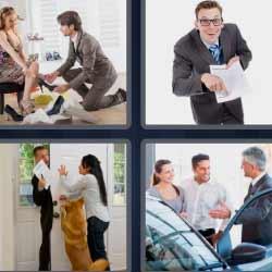 4fotos1palabra hombre probando zapato a mujer cerrando puerta