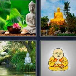 4 fotos 1 palabra estatua zen