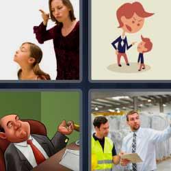 4 fotos 1 palabra madre enfadada regañando a su hija