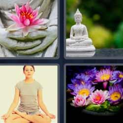 4 fotos 1 palabra buda flores