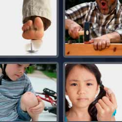 4 fotos 1 palabra herida en la rodilla martillo chincheta