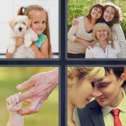 4 fotos 1 palabra niña con perro