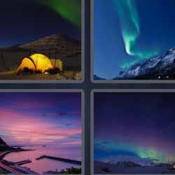 4 fotos 1 palabra cielo de colores