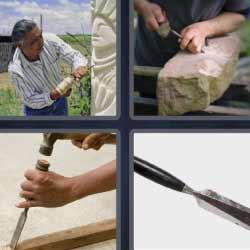 4 fotos 1 palabra herramienta madera