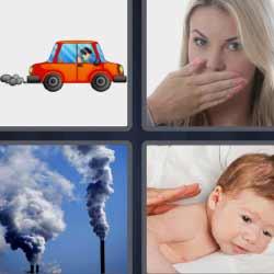 4 fotos 1 palabra humo bebé mujer