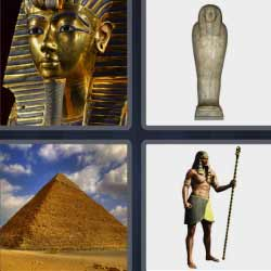 4 fotos 1 palabra pirámide momia Egipto