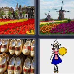 4 fotos 1 palabra molinos zuecos flores