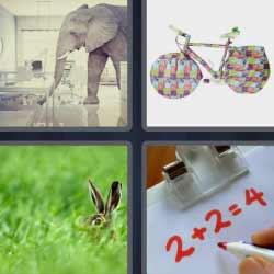 4 fotos 1 palabra elefante bicicleta
