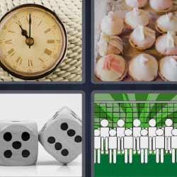 4 fotos 1 palabra dados reloj ajos