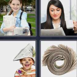 4 fotos 1 palabra niño sombrero papel