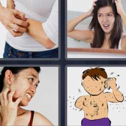 4 fotos 1 palabra mujer rascándose