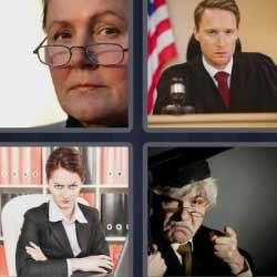 4 fotos 1 palabra juez serio