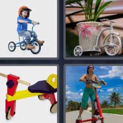 4 fotos 1 palabra bici tres ruedas